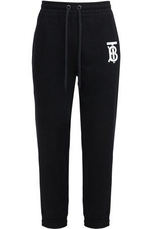 Burberry Pantaloni In Felpa Di Cotone Con Logo