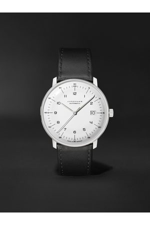 JUNGHANS Uomo Orologi - Max Bill Automatic 38mm Stainless Steel and Leather Watch, Ref. No. 027/4700.02