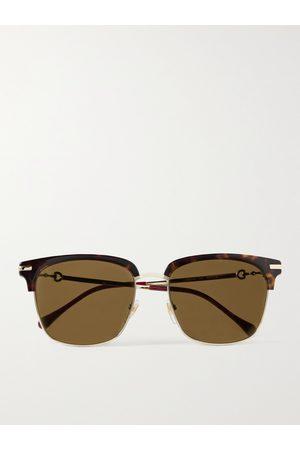 Gucci D-Frame Acetate and Gold-Tone Sunglasses