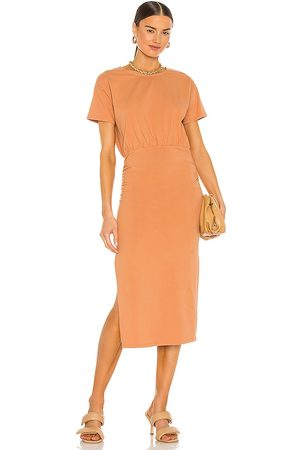 Lovers + Friends Easy Ruched Midi Dress in - Tangerine. Size L (also in XXS, XS, S, M, XL).