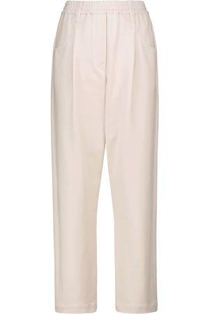 Brunello Cucinelli Pantaloni a vita alta in misto cotone stretch