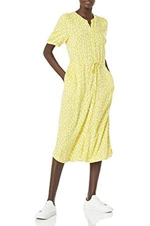 Amazon Essentials Abito Femminile a Mezza Manica con Vita Midi A-Line Dresses, Celidonia/Petalo Stampa, US L