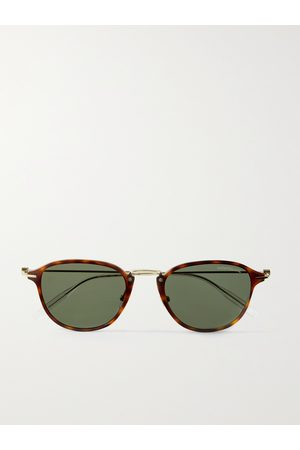 Mont Blanc Round-Frame Acetate and Gold-Tone Sunglasses