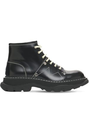 Alexander McQueen Donna Stivali - 40mm Tread Brushed Leather Combat Boots