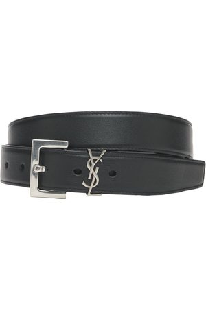 Saint Laurent Cintura In Pelle Morbida Con Logo 3cm