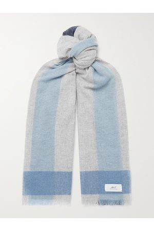 Mr P. Uomo Sciarpe - Fringed Colour-Block Cashmere Scarf