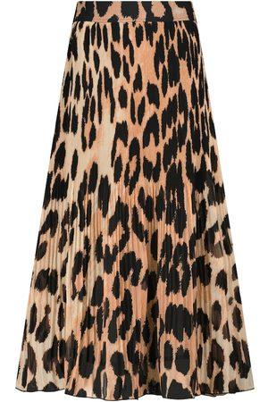 Ganni Donna Gonne midi - Gonna midi a stampa leopardata