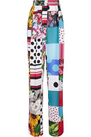 Dolce & Gabbana Donna Pantaloni a palazzo - Pantaloni patchwork a stampa in seta