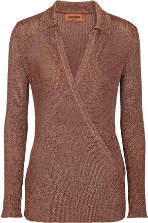 Missoni Donna T-shirt a maniche lunghe - Top a portafoglio in maglia lamé
