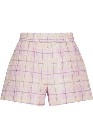 Ganni Donna Pantaloncini - Shorts a quadri in seersucker