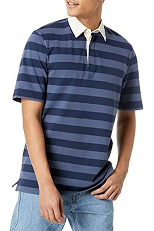Amazon Uomo Polo - Regular-Fit Short-Sleeve Rugby Polo, Indaco/Navy Stripe, L