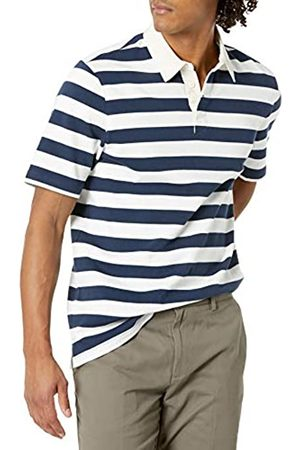 Amazon Uomo Polo - Regular-Fit Short-Sleeve Rugby Polo, Navy/ a Righe, M