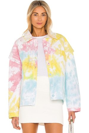 LOVESHACKFANCY Adelade Jacket in - Pink,Yellow,Blue. Size L (also in S, XS, M).