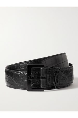 Saint Laurent Croc-Effect Leather Belt