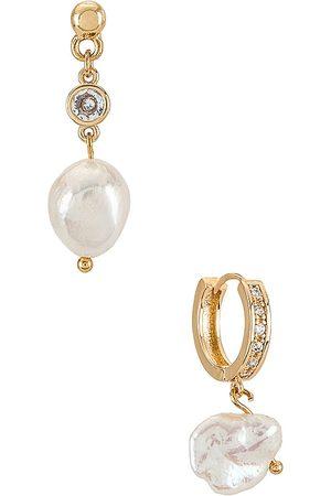 Ettika Pearl Drop Earrings Set in - Metallic . Size all.