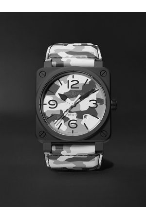 Bell & Ross Uomo Orologi - BR 03-92 Limited Edition Automatic 42mm Ceramic and Leather Watch, Ref. No. BR0392-CG-CE/SCA