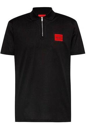 HUGO BOSS Uomo Polo - Zip-neck cotton polo shirt with red logo label