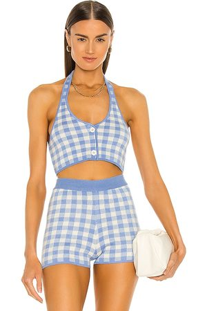 MAJORELLE Addy Cropped Halter Top in - Baby Blue. Size L (also in XXS, XS, S, M, XL).