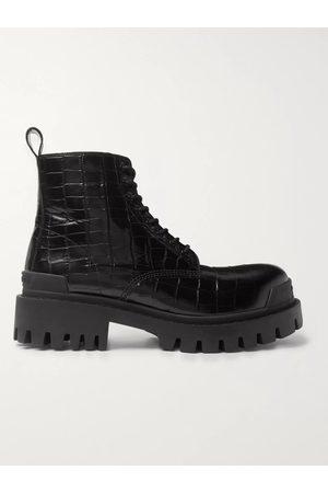 Balenciaga Strike Croc-Effect Leather Boots