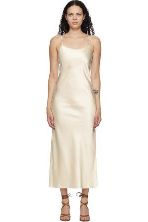 Marina Moscone Off-White Heavy Satin Bias Slip Dress