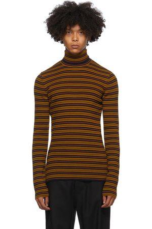 DRIES VAN NOTEN Brown & Navy Striped Sweater