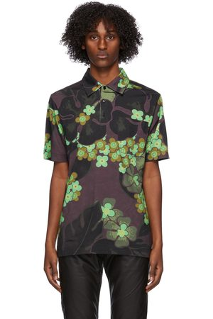 DRIES VAN NOTEN Green & Purple Flower Polo