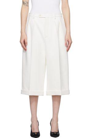 Saint Laurent White Flannel Wool Cashmere Bermuda Trousers