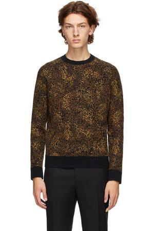 Saint Laurent Black Jacquard Leopard Crewneck Sweater