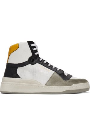 Saint Laurent White & Yellow Paneled High-Top Sneakers
