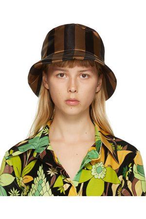 Fendi Brown & Black Thick Stripes Woven Bucket Hat