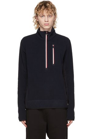 Moncler Navy Zip Mock Polo Neck Sweatshirt