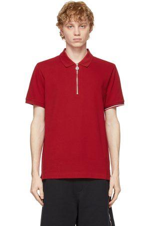 Moncler Red Tricolor Logo Zip Polo