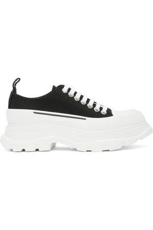 Alexander McQueen Black & White Tread Slick Platform Low Sneakers