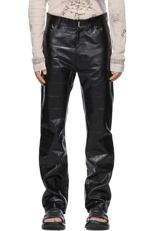 Givenchy Black Leather Croc Embossed Pants