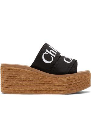 Chloé Black Woody Wedge Heeled Sandals