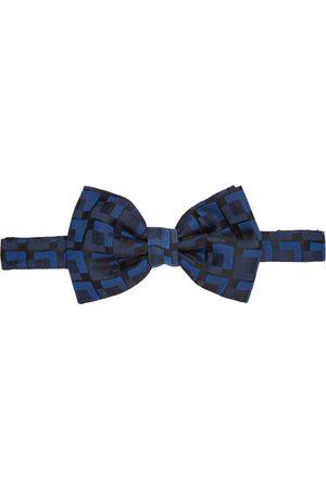 DRIES VAN NOTEN Black & Blue Silk Squares Bow Tie