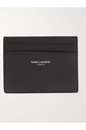 Saint Laurent Uomo Portafogli e portamonete - Logo-Embossed Pebble-Grain Leather Cardholder