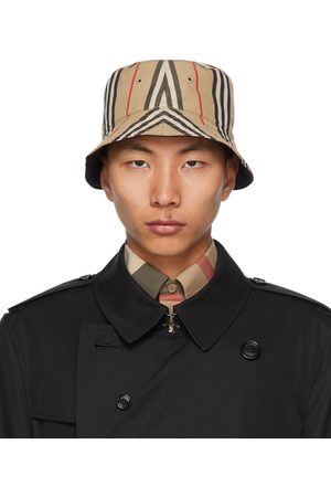 Burberry Reversible Beige Cotton Icon Stripe Bucket Hat