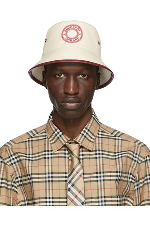 Burberry Beige & Red Canvas Logo Bucket Hat