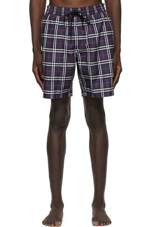 Burberry Navy Check Swim Shorts