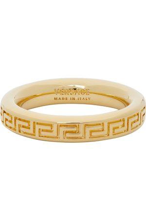 VERSACE Gold Thin Engraved Greek Key Ring
