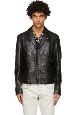 Saint Laurent Black Leather Application Jacket