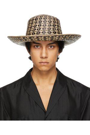 Saint Laurent Beige & Black Straw Maui Hat