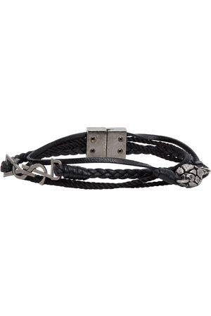 Saint Laurent Black Leather Braided Pineapple Monogram Bracelet