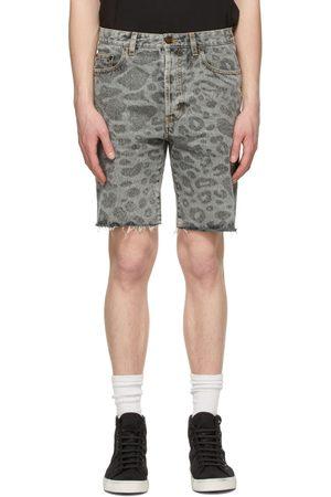 Saint Laurent Grey Leopard Raw Edge Shorts