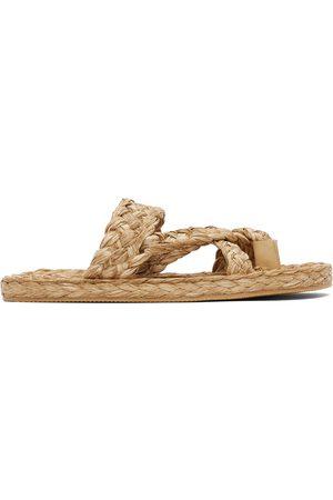 Saint Laurent Beige Raffia Multi-Strap Sandals