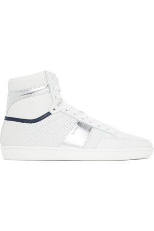 Saint Laurent White & Silver Court Classic SL/10H Sneakers