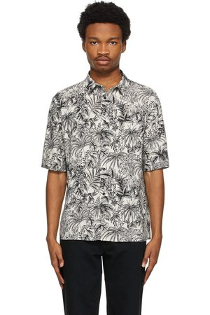 Saint Laurent Off-White & Black Floral Short Sleeve Shirt
