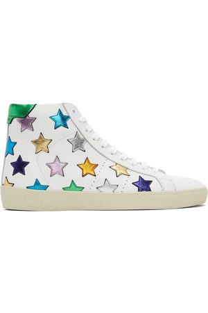 Saint Laurent White Metallic California Court Classic SL/06 High-Top Sneakers