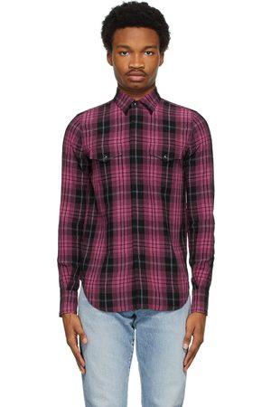 Saint Laurent Black & Pink Slim Tartan Shirt